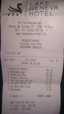 Versoix, Suisse : Proof of bill.