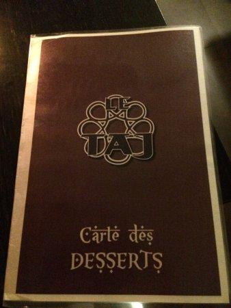 Le Taj : Copertina del menu, colori marrone ed oro, OK per questo genere di locale.