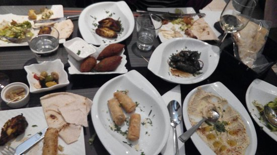 Libanese Snack: hummus, feta cheese rolls, grape leaves roll, meat balls, ...