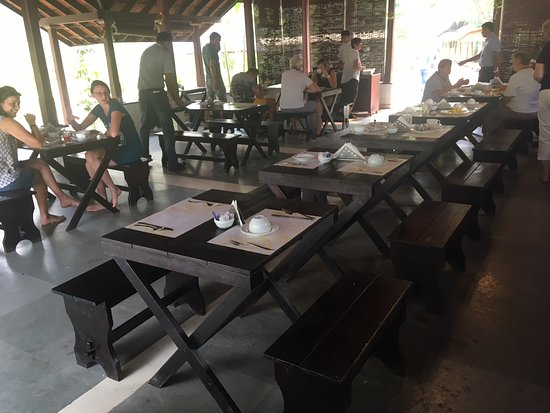 Hard bench seats in dining area - not a place for a relaxing meal