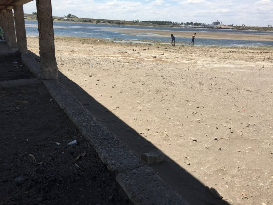 El Nihuil, Argentina: Esa fue la única sombra que pudimos encontrar bajo un muelle, el dique bajisimo y podrido
