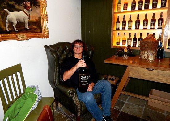 Ardbeg Distillery: Ardbeg Tasting Room with a 4.5 L bottle of Uigeadail