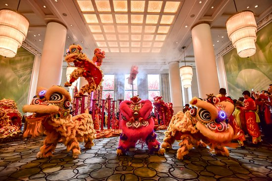 The Peninsula Shanghai: Lion Dance performance in The Lobby and Yi Long Court during Chinese New Year