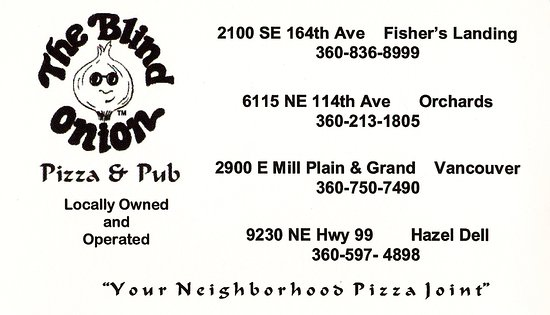 Blind Onion Pizza & Pub : Blind Onion Card with addresses
