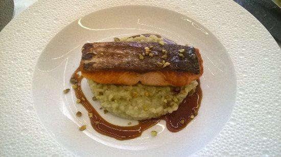 la table d'o: Pavé de saumon et risotto pistache