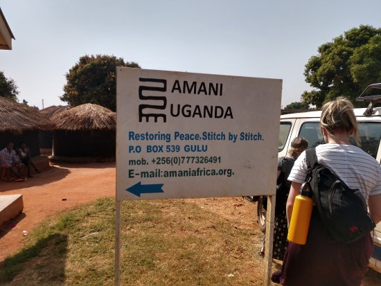 Sign in front of Amani in Gulu