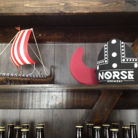 Nobel, Canada: The nice folks that run the brewery and some of their Viking themed swag.