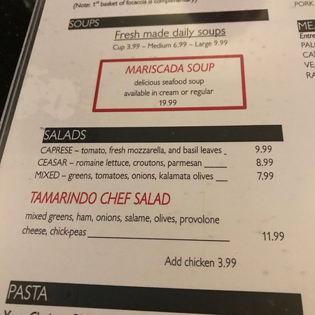 parts of the menu Jan 2018 - Picture of Tamarindo Coal Fired