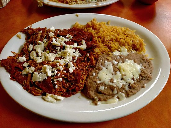 Loxley, AL: Chilaquiles with chicken, a good, spicy but not too heavy meal.