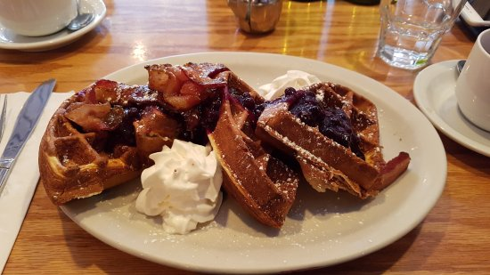 Faberge: Waffles with bacon and berries