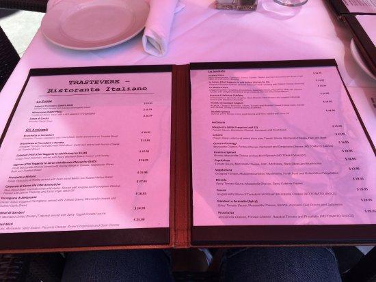 Trastevere Ristorante Italiano: menu trastevere los ángeles