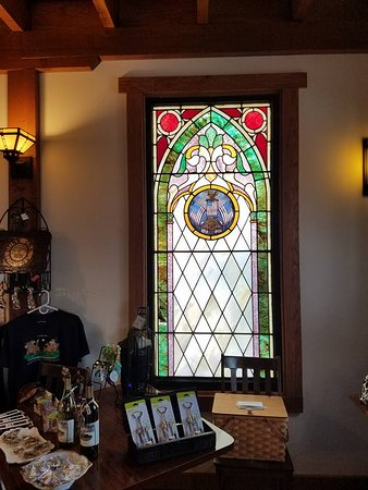 Vintage Stained Glass Picture Of Burr Oak Winery New Lisbon