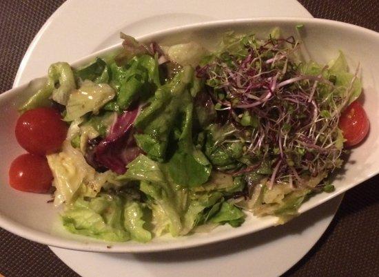 Rheinfelden, Suiza: Schön angerichtet, aber ungeniessbare Salatsauce