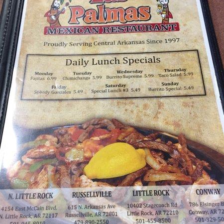 Las Palmas Mexican Restaurant Menu Little Rock