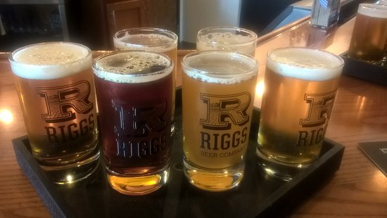 Riggs Beer Company: A beer flight. American Lager, Red Lager, Heff, Citra and a couple more I can't remember