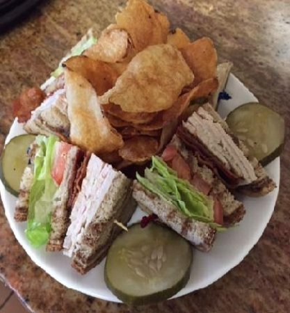 Cologne, NJ: House roasted turkey club with homemade kettle cooked chips