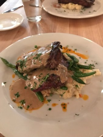 Brick 29: Flat iron steak, garlic mashed potatoes with green beans. The sauce was AMAZING!