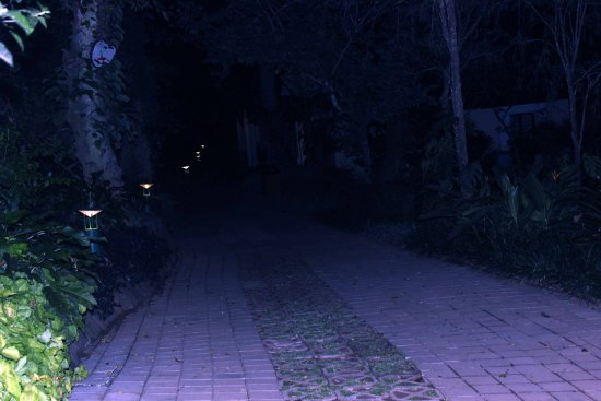 Rooms and pathway in night