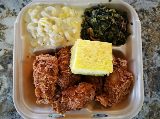 Vidalia, LA: Fried chicken wings with homemade mac & cheese, mustard greens and cornbread. Delicious!