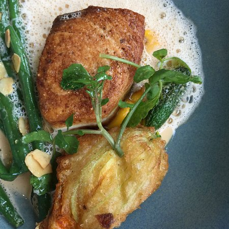 The River Moruya: Swordfish with stuffed zucchini flower (side of green beans)
