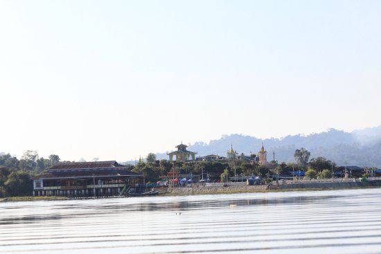 Kachin State, Myanmar: The pagodas beside lake