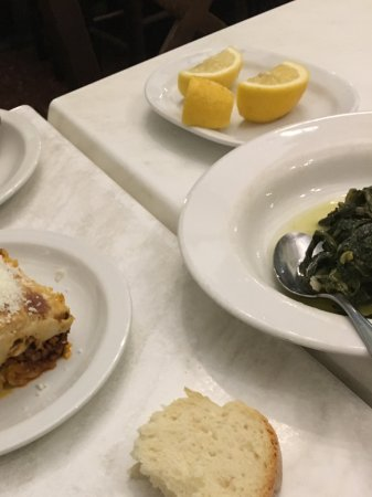 Scholarchio Restaurant: Courgette fritters, greens with oil and lemon and moussaka