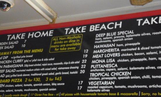 Deep Blue Cafe: Menu on the Wall