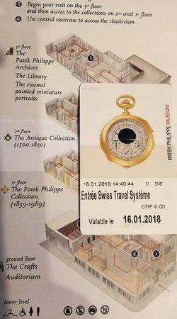 Musée Patek Philippe : Входной билет в часовой музей Patek Philippe и листовка с описанием экспозиции.