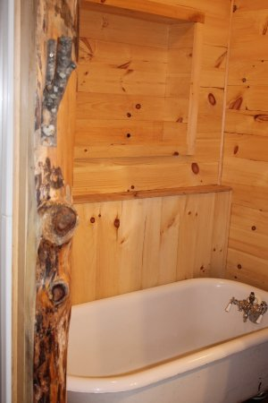 Pittsfield, Nueva Hampshire: Beautiful clawfoot tub in Lakeside cabin's downstair bath.