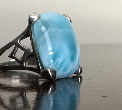 Larimar sterling silver ring with hallmark 925 silver