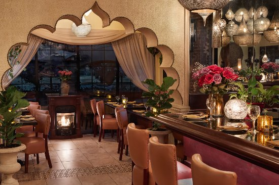 India Restaurant Cozy Fireplace Seating