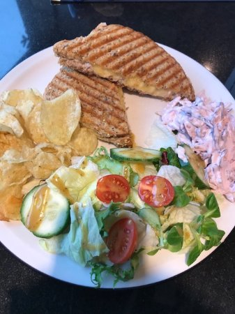 Lightbox Cafe: Sandwiches come with a full plate of salad and crisps and coleslaw!
