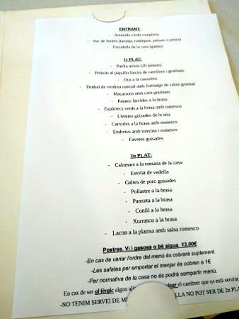 Sant Quirze de Besora, España: Menú