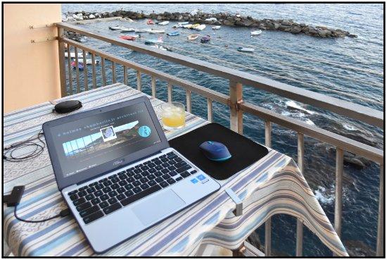 La Scogliera: View from deck, Cargavu.