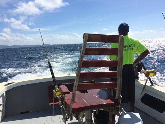 Wayward Wind Grenada Fishing: George looking for fish - as we all were