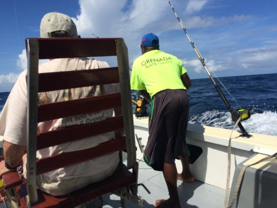 Wayward Wind Grenada Fishing: George responding to a clip release; Don ready to reel