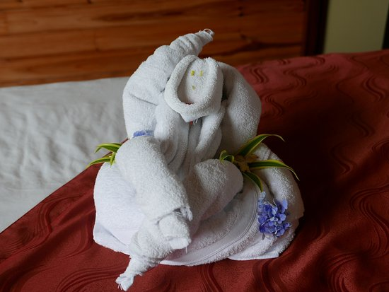 Arenal Kioro Suites & Spa: Cute folded towels on our bed