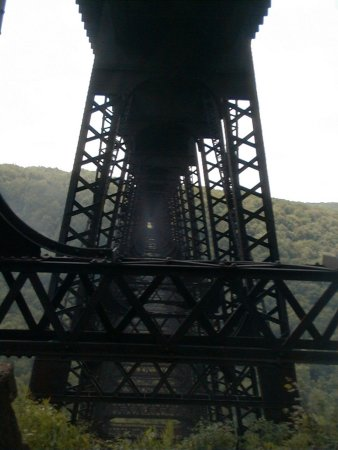 Mount Jewett, Pennsylvanie : View through the tower superstructure in Aug., 1999