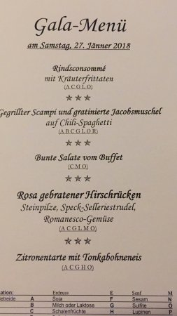 Hotel Achentalerhof: Saturday Night menu