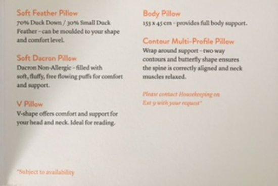 Brisbane Riverview Hotel : Pillow menu