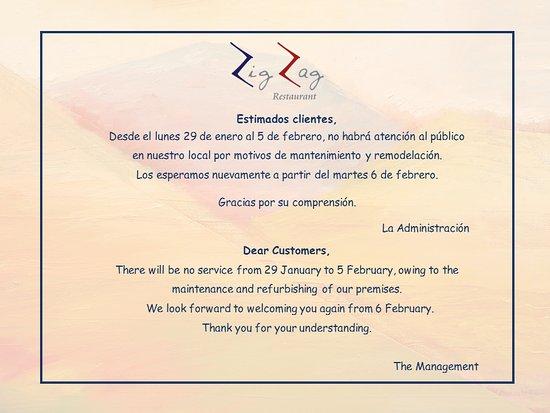 Zig Zag Restaurant: Aviso de cierre temporal