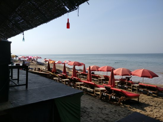 Anjuna, India: Beach loungers in front of the shack.