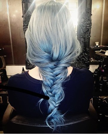 Silver Hair Going To Light Blue In A Braid At Our Vauxhall Hair And