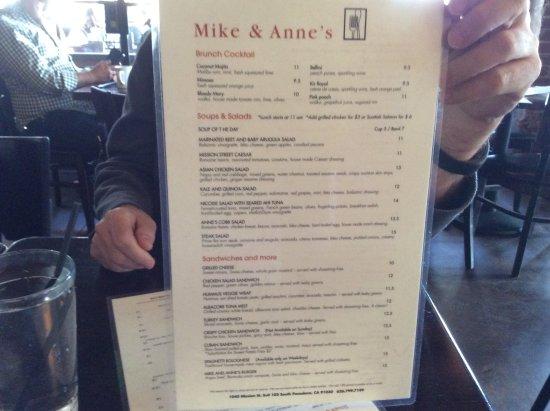 South Pasadena, Californië: Mike & Anne's Restaurant - Menu