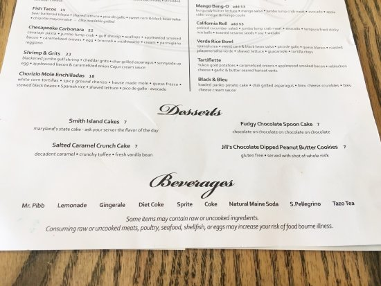 Crownsville, MD: Menu: Desserts, Beverages