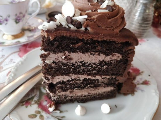 Queen Charlotte Tea Room : Chocolate cake..sooo good!! Five layers!