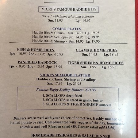 Vickis Seafood Menu, Coldbrook, NS