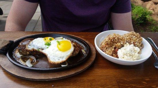 Aloha Mixed Plate : loco moco with fried rice