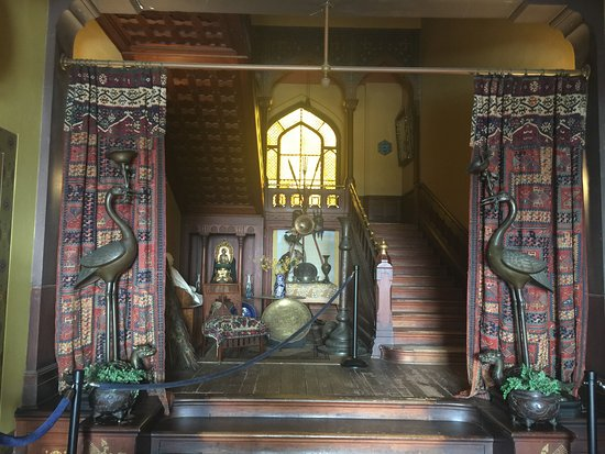 Olana State Historic Site: The magical main hallway with staircase -- views of Hudson River valley behind me