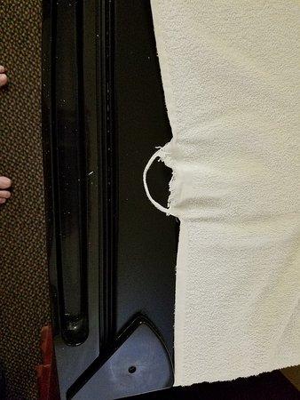Ouachita Mountain Inn: Torn Bath Towel